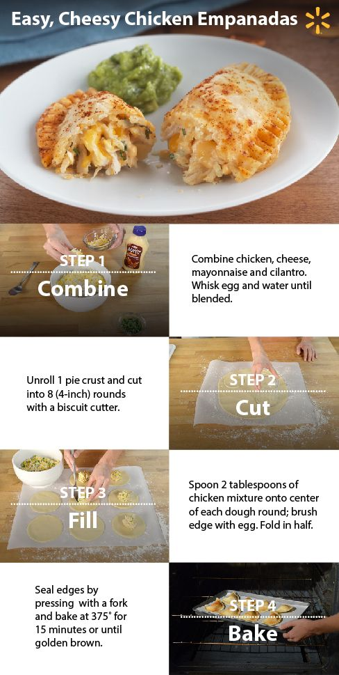 Cheesy Chicken Empanadas! Try this yummy & easy recipe for a chipotle-flavored meal your family will love. Be sure to make extra, though – they will disappear fast! :) Get this and more time-saving recipes from Simple Meals at Walmart now.