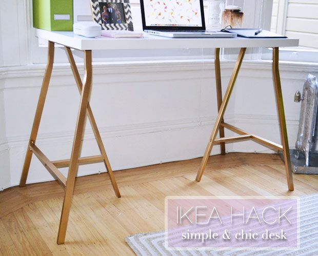 Ikea Hack Simple and Chic desk for $40 including spray paint. This could work as a dining table/work desk.