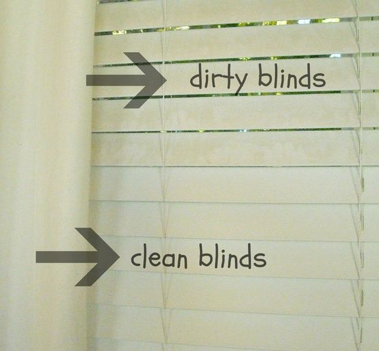 How to Clean Dirty Blinds: Mix equal parts vinegar   water in a bowl. Then slip an old sock on your hand, dip your hand (with the sock on it) into the vinegar and water mixture, and wipe down each individual slat on the blinds.