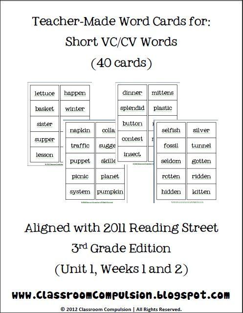 Premise Indicator Words: Short VCCV Spelling Word Cards