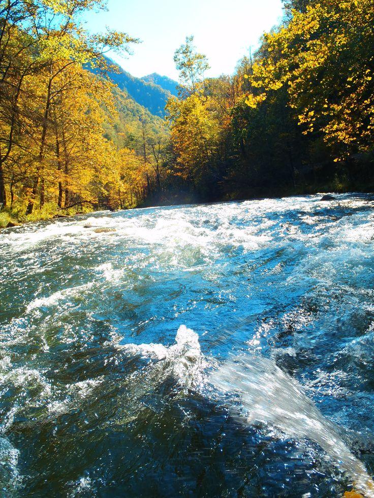 View along the Nantahala River - Whitewater Rafting Bryson City North Carolina - Oct 2011