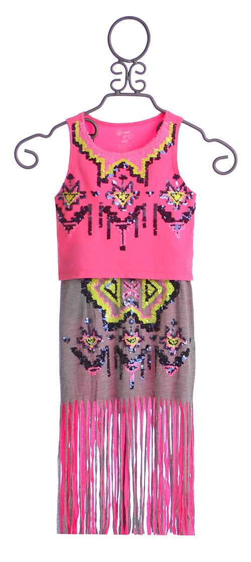 Flowers by Zoe Fringe Skirt and Neon Top for Tweens $84.00