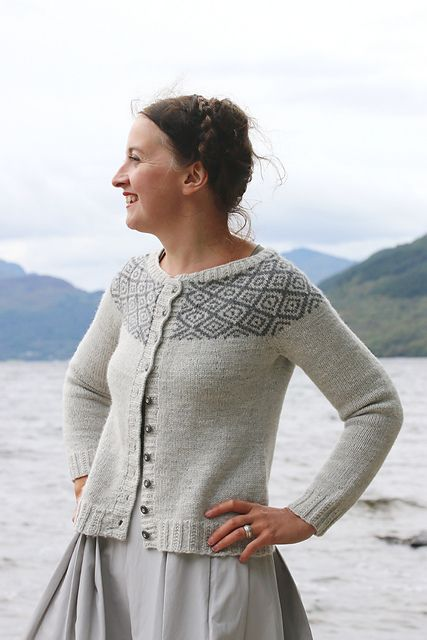 Amazing yoked cardigan with simple geometric color work. Must make! Ravelry: Epistrophy pattern by Kate Davies