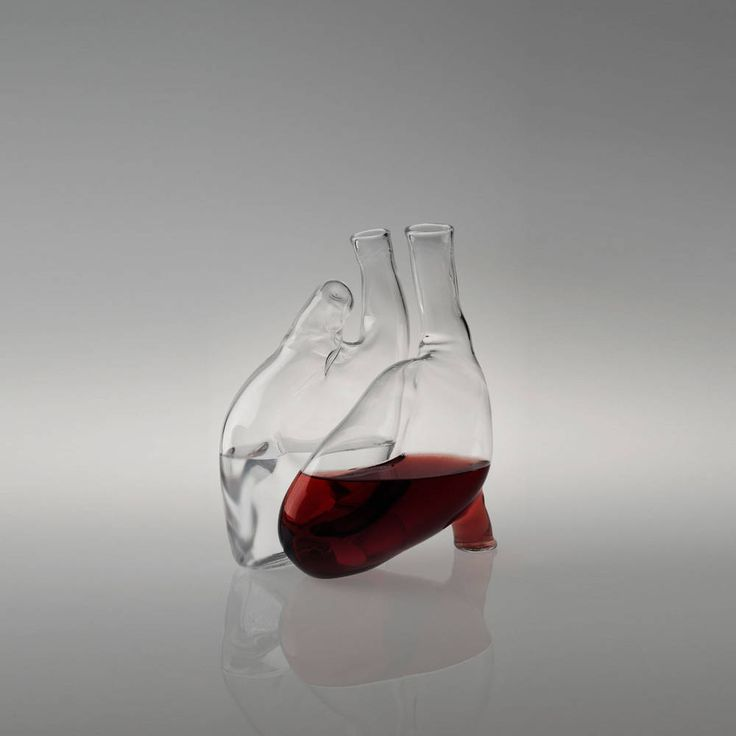 "Wine carafe shaped like a human heart: ""two glass carafes shaping a human heart when joined together"" -- made from blown Pyrex Glass, via BoingBoing: Heart Decanter, Red Wine, Heart Shape, Wine Glass, Liviana Osti, Heart Carafe, Human Heart, Anatomical Heart, Wine Decanter"