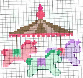 Roundabout - plastic canvas x stitch for baby room