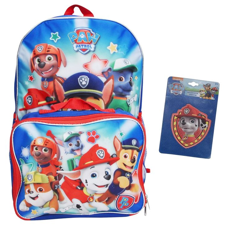 Paw Patrol Boys Backpack with Lunch Bag and Marshall Adhesive Patch