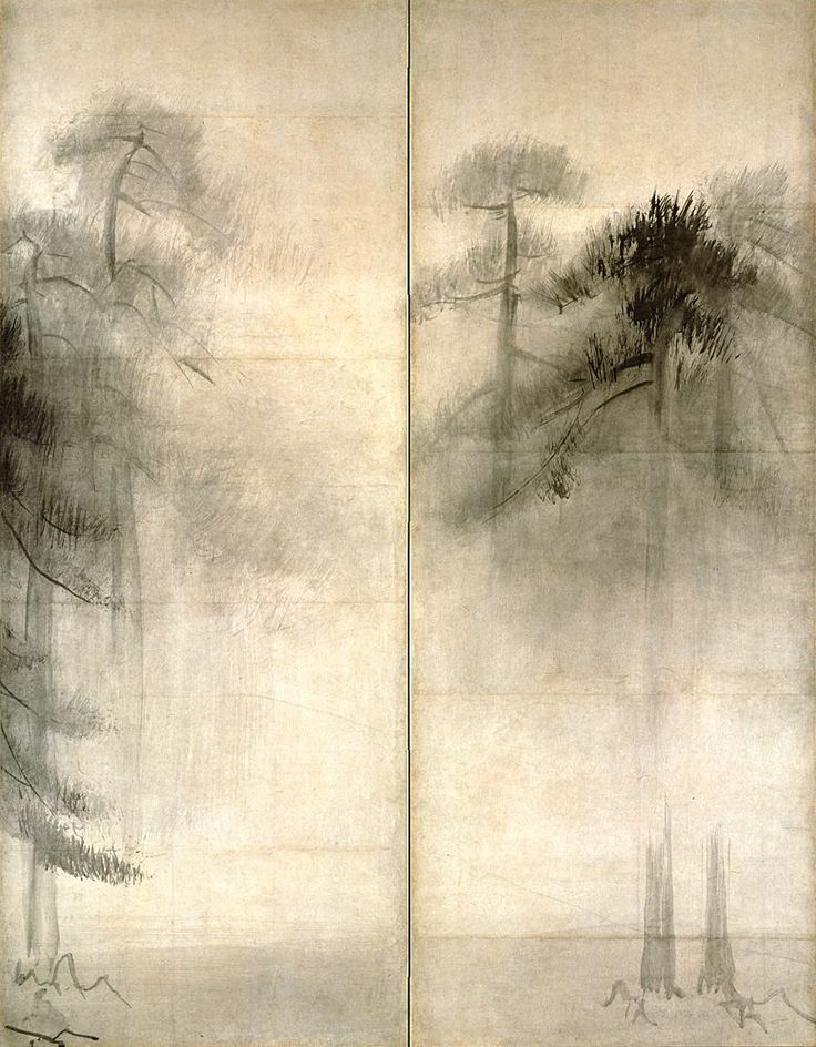 """Pine Trees"" in detail (pair of six-folded screens; ink on paper), by HASEGAWA Tohaku (1539~1610): National Treasure of Japan 長谷川等伯 松林図(国宝): I'm fortunate to see this yesterday at Tokyo National Museum. It's so strong yet sensitive, and most of all, so free."