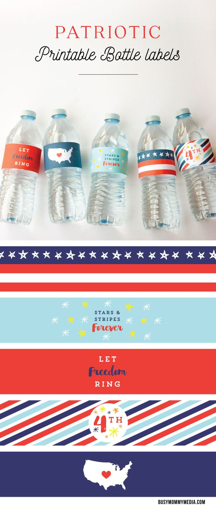 Is there  Fourth of July party in your future?  These patriotic printable bottle labels are the perfect way to jazz up your party! Download the free printable and add a festive touch to your party.  This past memorial day has got me in the patriotic spirit so I created some fun printables for your July 4th parties and barbecues.  Summer is the BEST time of year to party and my favorite easy party decor trick is DIY water bottle labels. These labels fit most water bottles (I used Kirkland…