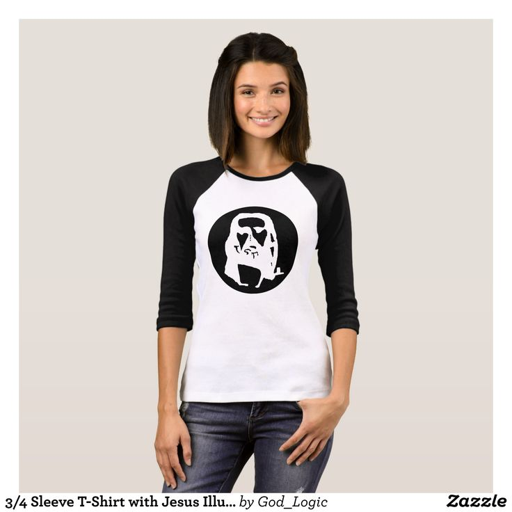 3/4 Sleeve T-Shirt with Jesus Illusion - Fashionable Women's Shirts By Creative Talented Graphic Designers - #shirts #tshirts #fashion #apparel #clothes #clothing #design #designer #fashiondesigner #style #trends #bargain #sale #shopping - Comfy casual and loose fitting long-sleeve heavyweight shirt is stylish and warm addition to anyone's wardrobe - This design is made from 6.0 oz pre-shrunk 100% cotton it wears well on anyone - The garment is double-needle stitched at the bottom and sleeve…