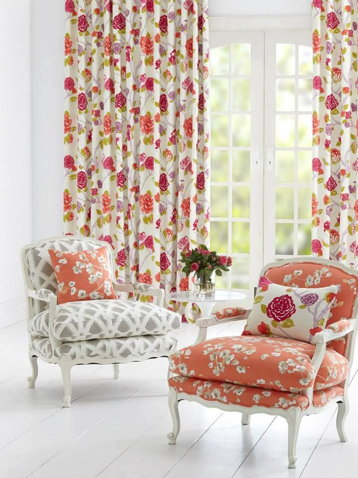 Gorgeous Oriental Trail is a beautiful collection comprised of two floral fabrics and a co-ordinating geometric available in a clean, contemporary colour palette.  These three designs are printed on either 100% Cotton or 100% Linen. #homedecoratingideas