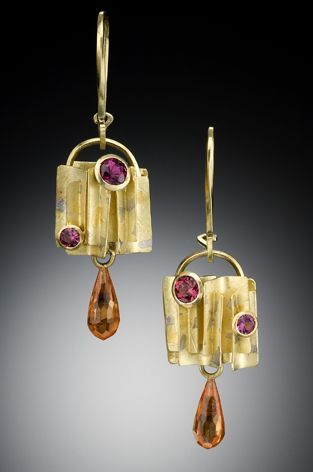 Fabricated from 18kt gold with 22kt platinum fused to the surface to create a subtle mottled pattern like sun-dappled shade. Set with rhodolite garnets and spessartite garnet briolettes. By C.H. Mackellar