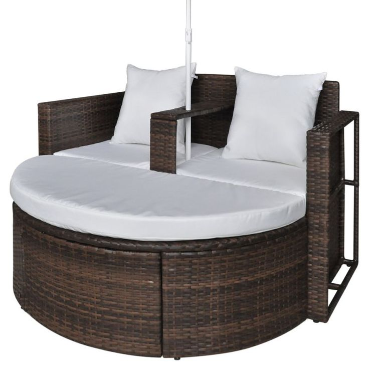 Vidaxl Garden Lounge Set Poly Rattan Brown Outdoor