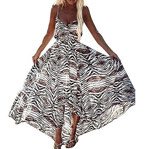 cool Women Summer Irregular Boho Lustre Robe Fami sans manches longues robes maxi (M)