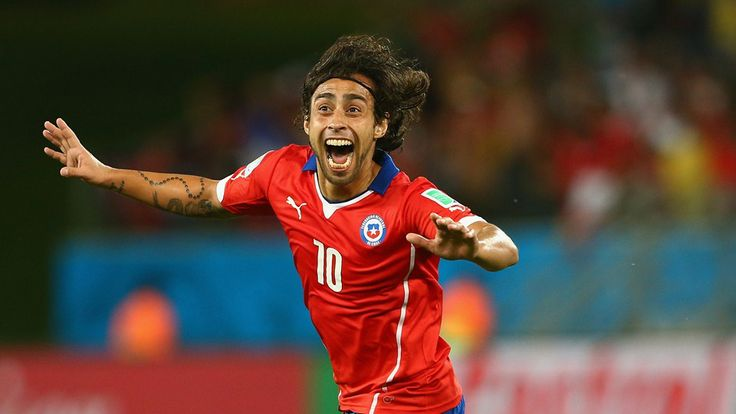 Jorge Valdivia of Chile celebrates after scoring