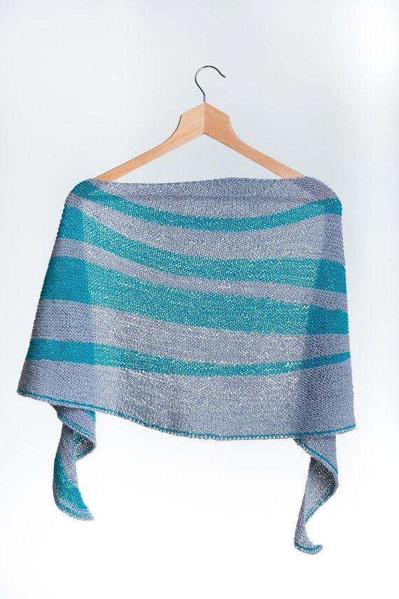 Hand Knit Striped Asymmetric Shawl di AtelierBusas su Etsy