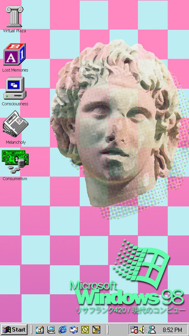 Windows 98 Vaporwave Wallpaper for iPhone 5                                                                                                                                                                                 More