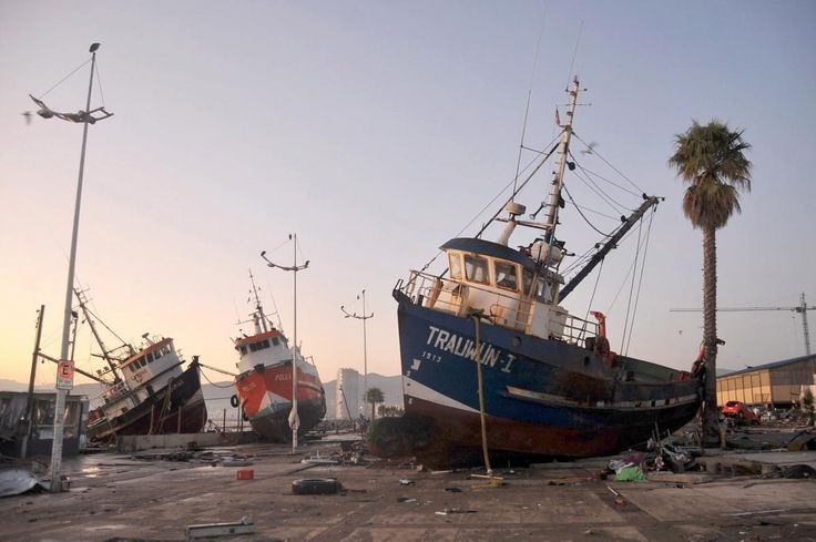 Ships are seen in the street after an earthquake hit areas of central Chile, in Coquimbo city, north of Santiago, Chile on Sept. 17, 2015.