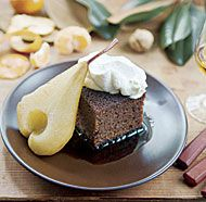 Gingerbread Cake with Root-Beer-Poached Pears; serve at room temp; lunchbox freindly