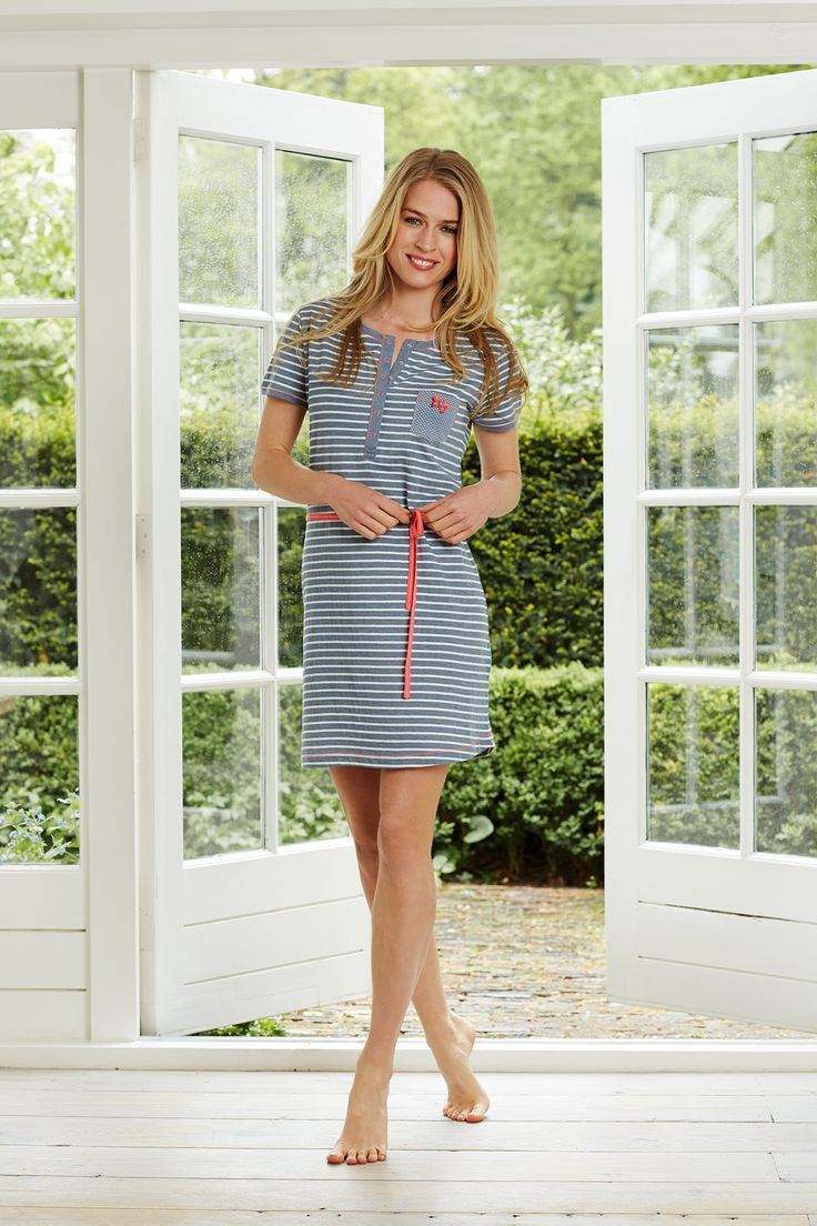 A must have stripey slateblue & white short sleeved nightdress with polka dots and handy press studs