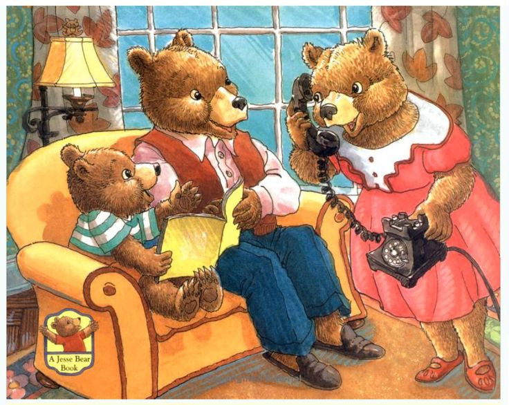 """""""Guess Who's Coming, Jesse Bear"""" by Nancy White Carlstrom, illustrated by Bruce Degen, 2012 (http://www.amazon.com/Guess-Whos-Coming-Jesse-Bear/dp/068984820X/ref=pd_sim_b_6)"""