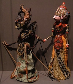 Javanese Wooden Puppets with Batik Clothing