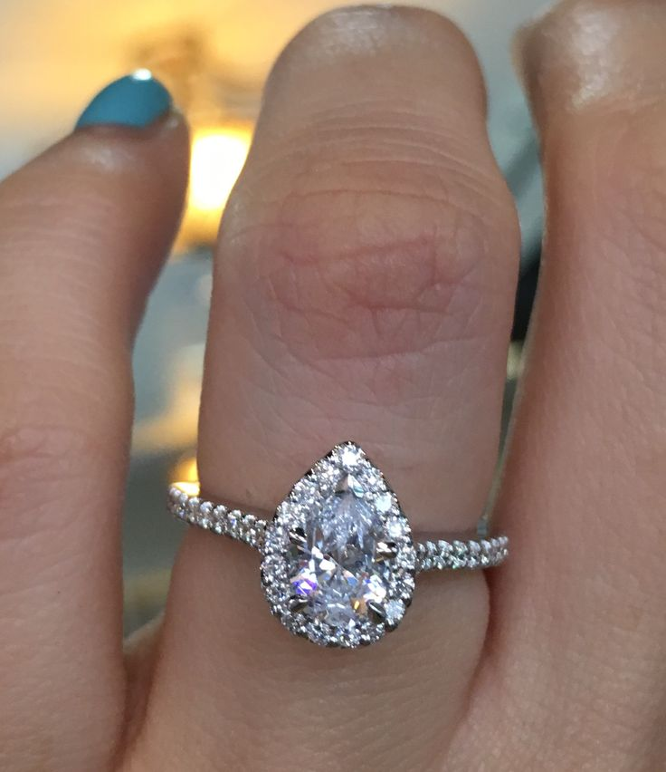 Gabriel & Co. ER5828W44JJ 14k White Gold Diamond Halo Engagement Ring Setting Sublime in style and grace.  This is a decadent pear shape diamond engagement ring.  This specific Gabriel & Co…