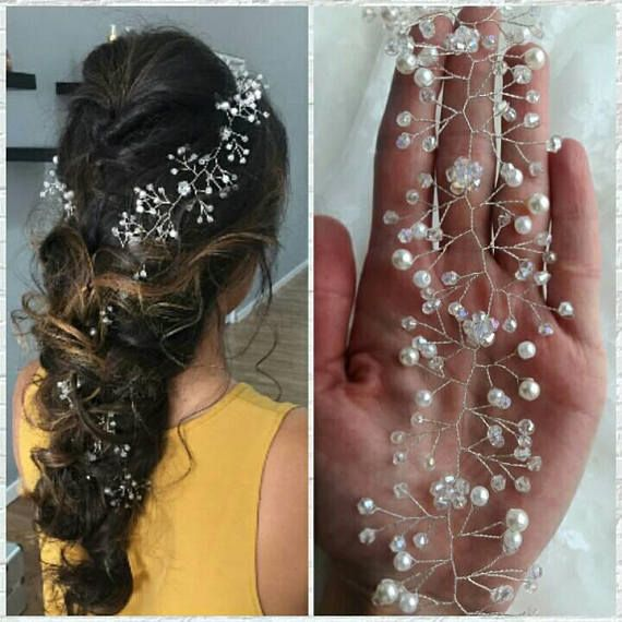 Elegant bridal hair vine will underline the beauty of your wedding hairstyle. This stylish wedding hair piece created with delicious pearl beads, crystal beads and silver wire. This refined long hair vine is perfect on both dark and blond hair and will help you to become bewitching
