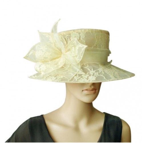 """Lady Marmalade"" Ivory Fascinator Hat. This large Organza Hat offers style and grace with its light and lovely organza trims, lace embroidered detail and organza band finished with a matching organza trim floral constellation. For the ladies that truly like to make an effort. $79.95 including gift box and FREE shipping in Australia."