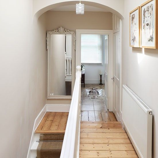 Hallway Decorating Ideas House: Neutral Hallway With Wood Flooring