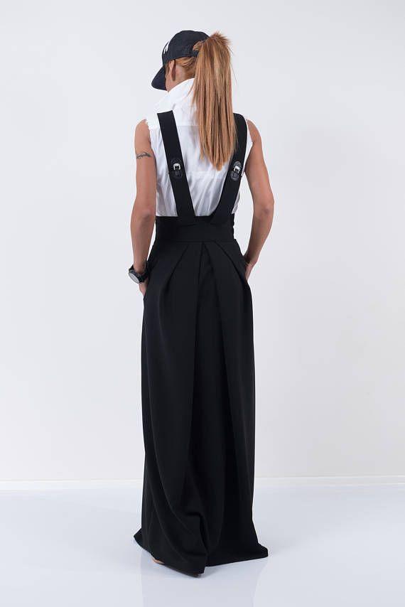 Wysoka talia czarna spódnica / Kobieta długa spódnica / Długa spódnica /