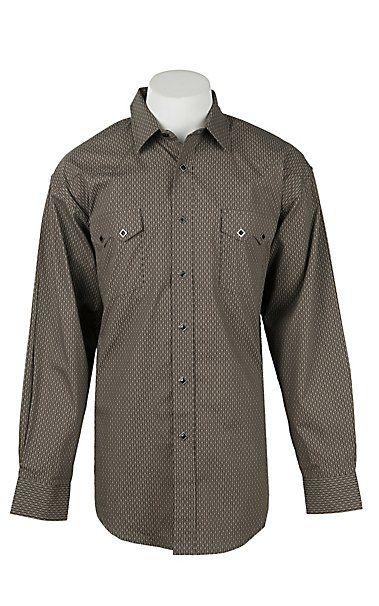 bab30e8b3d7 Panhandle Men s Grey Grill Print Long Sleeve Western Shirt in 2018 ...