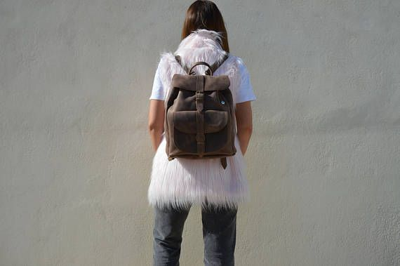 College Backpack, Women's Leather Backpack, Leather Rucksack, Made in Greece from Full Grain Leather, LARGE.