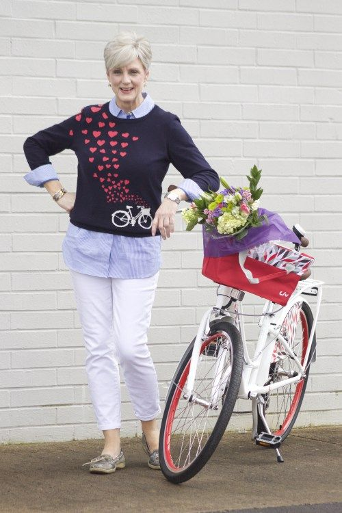 Take Beth's, of Style At a Certain Age, style advice for a spin: pair our whimsical sweater with a fun day out!