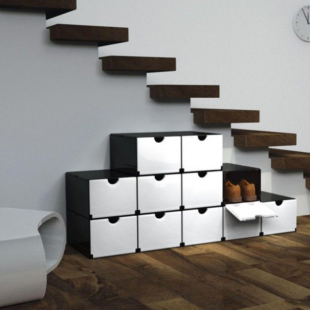 Modern Shoe Cabinet, Useful Storage Space, Interesting Decoration: White  And Black Modern Shoe Part 40