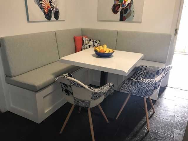 """Alison sent a photo of her lovely bench seat cushions made by Cushion Factory.  """"We are very happy with them and they look wonderful in our meals area. Thanks for all your assistance. """"  #outdoorcushions"""