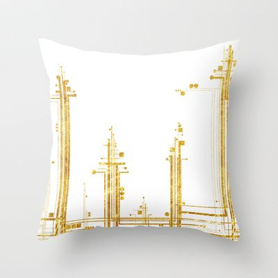 ABSTRACT GOLD Throw Pillow by ARCHIGRAF - $20.00