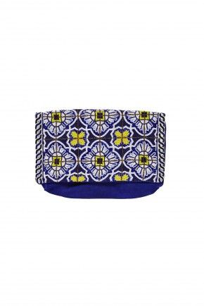 CAMILLA ROAD TO SEVILLE EMBELLISHED CLUTCH - Navy, yellow and white beading creates delicate bursts of colour, while rich navy suede feels sensual to the touch. Feast your eyes upon our Road to Seville Embellished Clutch: a bespoke hand embroidered clutch with stories to tell. - Hand embroidered front - Suede - Internal zip compartment FABRICATION: Suede w/ cotton twill lining EMBELLISHMENT: Hand embroidery DIMENSIONS: 31.5cm X 21.5cm
