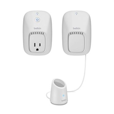The Belkin Wi-Fi enabled WeMo Switch and WeMo Motion Kit gives you wireless control of your home appliances and electronics, turning devices of your choice on or off as soon as movement is detected. The sensor plugs into an outlet and detects motion up to 10 feet away. It then sends a wireless signal to the WeMo Switch to turn the connected device either on or off.