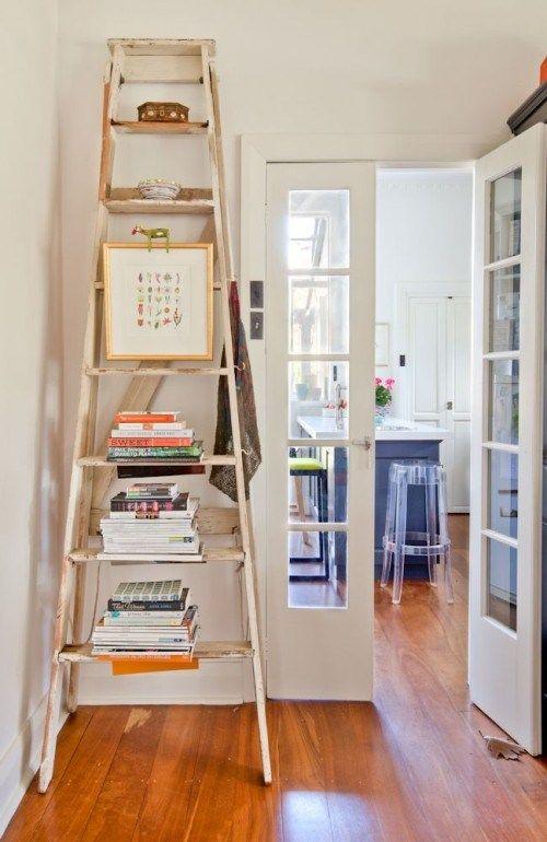 http://www.designsponge.com/2014/07/home-renovation.html. Use the vintage step stool for cookbook display.