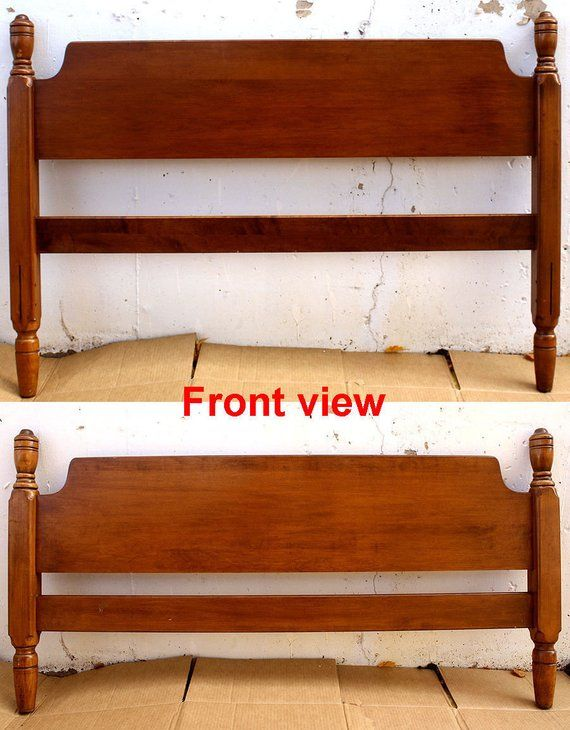 Vintage Antique Maple Wood Wooden Full Size Bed Frame Head Foot