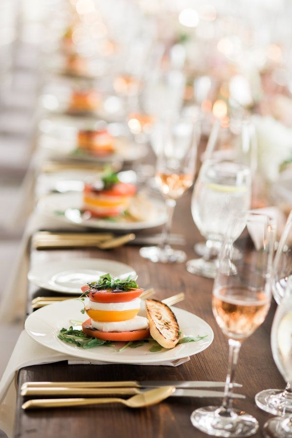 Caprese salad: http://www.stylemepretty.com/2016/04/29/the-quintessential-summer-wedding-youve-only-dreamed/ | Photography: Rebecca Arthurs - http://rebecca-arthurs.com/
