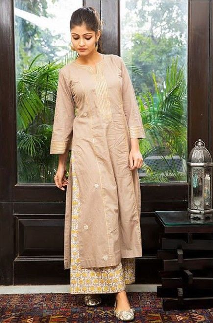 ea6ce4954d770 Beautiful Chanderi-Silk Kurti with printed plazo and embellished with gota  work and detailed with gota patti. #kurti #suit #drzya