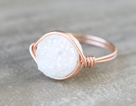 Rose Gold White Druzy Statement Ring