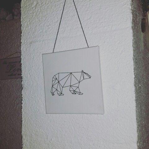 Embroidery on linen cloth ~Bear~