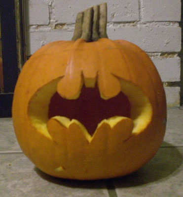 batman pumpkin. Pinning for my Hubby. He will love  this idea