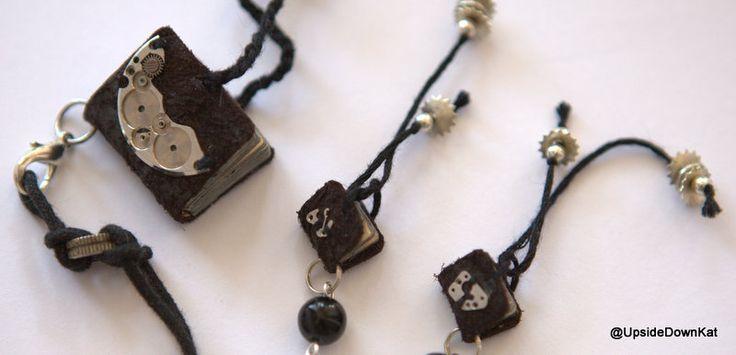 Tiny books, pendant + earrings <3