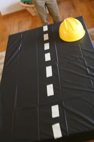 Awesome DIY table cover for a construction or truck-themed kid's birthday party