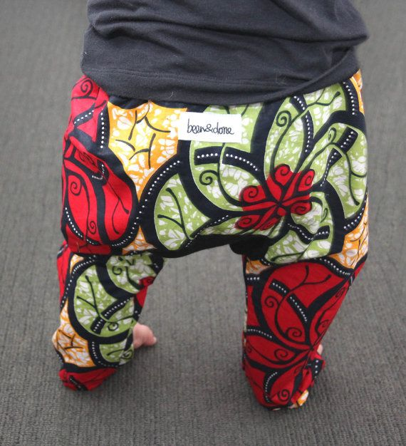 African Wax Print Baby Harem Happy Pants Size One por BeenAndDone
