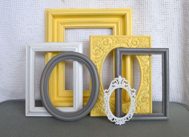 Yellow, Grey White Frames Set Of 6   Upcycled Frames Modern Bedroom Decor.  48.00