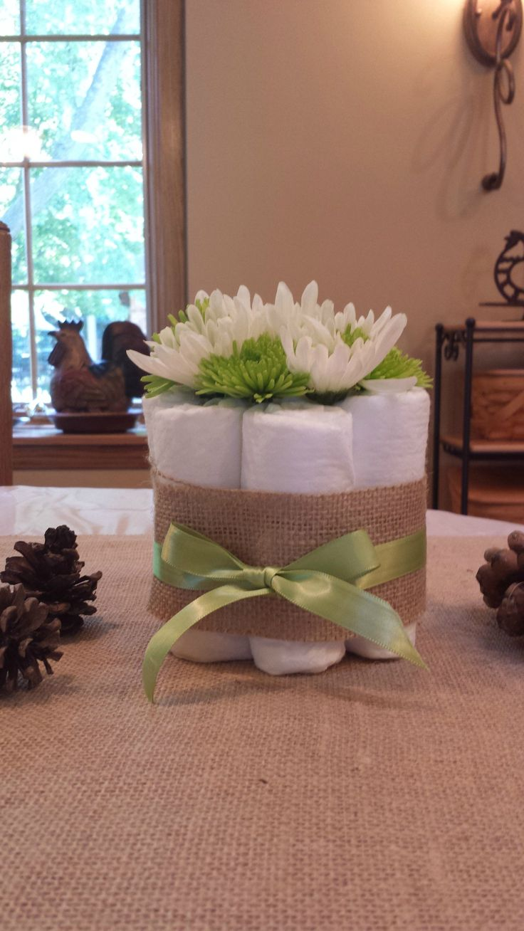 Woodland baby shower, baby boy, small diaper cake, burlap and ribbon, daisies and mums